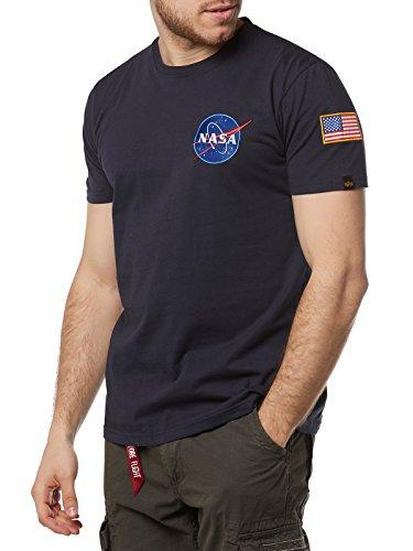 ALPHA INDUSTRIES Space Shuttle T Sr Camiseta de Manga Corta, Bleu/Blanc, M para Hombre