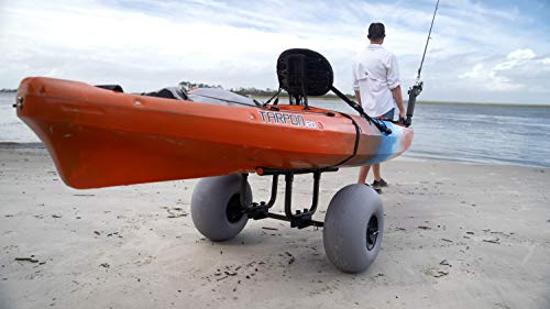 "Wilderness Systems Heavy Duty Kayak Cart | Inflatable Beach Wheels | 330 Lb Weight Rating | for Kayaks and Canoes, Model… 9 Paddling magazine's 2018 winner in the ""best transport/storage/launching' category Engineered to transport the heaviest kayaks - up to 330 pounds Easy to load and unload the kayak – no kickstands or scupper posts required"