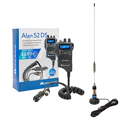 PNI Radio CB Midland Alan 52 DS + Midland LC59 Antena con Base Magnética