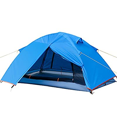 Hiking 2-3P Tent Waterproof Double Layer 2 Person 3 Season Backpacking Tent Aluminum Rod for Outdoor Family Camping Hunting Fishing Hiking Travel (Blue190)