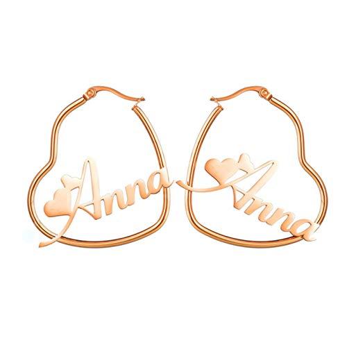 QIN Personalizado Nombre Personalizado Corazón Namplate Pendientes Colgante Drip Pendientes Calidad de Las Mujeres Acero Inoxidable Aniversario Regalo