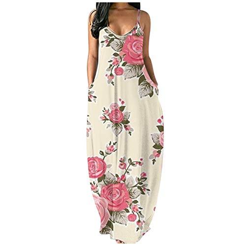 MEIbax Moda Sexy Vestido Mujer Bohemio Largo Verano Playa Fiesta Estampado de Flores Grandes Vestido de Cóctel de Noche/Color Sólido Falda Larga Casual Vestido Cóctel de Noche Vestido en V Profundo