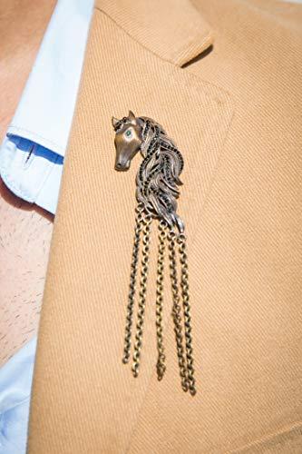 Vatslacreations Mustang Brosche Tiermotto Brosche Antik Gold Mustang Brosche Metallbrosche Messing Brosche Metall Mustang Brosche Vintage Gold Broschen Statement Brosche Geschenk für Ihn