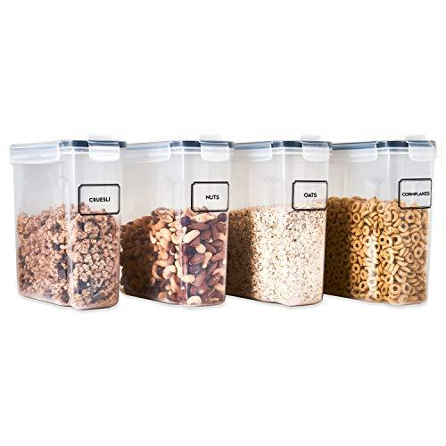 TNM Vorratsdosen Set (4x2,5L) Müsli Schüttdose & Frischhaltedosen, BPA frei Kunststoff Vorratsdosen luftdicht, Luftdichte behälter, Aufbewahrungsbox küche