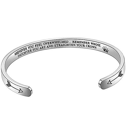 Suyi Encouragement Gift from Mom Whenever You Feel Overwhelmed Remember Whose Daughter You are and Straighten Your Crown Mantra Cuff Bangle Bracelet Daughter Silver