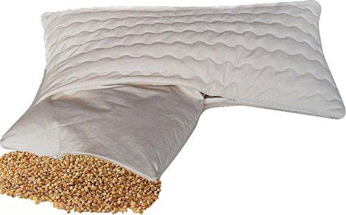 Bio Hirsekissen Hirsekopfkissen Hirsespreukissen Komfort 40 * 60 cm mit abnehmbarem waschbarem Bezug aus 100% Baumwolle mit Reissverschluss - original Natur-shop24