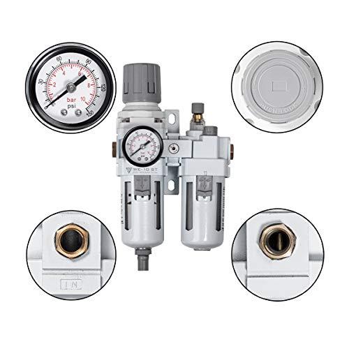 STAHLWERK Druckluftwartungseinheit mit Öler bis 10,5 bar für Druckluftkompressoren Druckluftwerkzeuge Wartungseinheit Wasserabscheider Öler Filter Druckluft Druckregler Anschluss 1/4