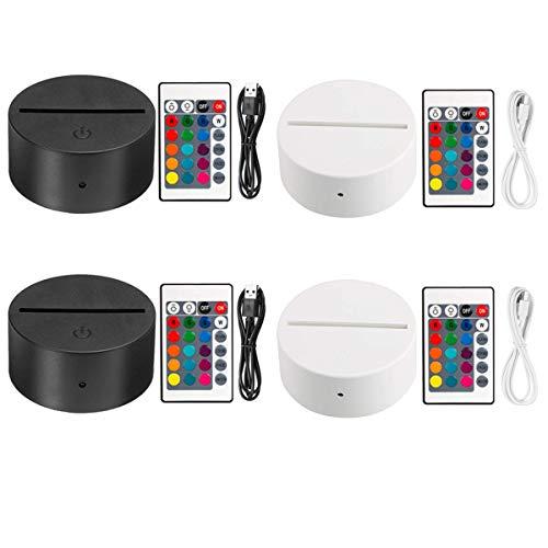 Thlevel 3D LED Nachtlicht mit Fernbedienung USB Kabel, 3D Illusion Lampe 7 Farben Dekoration Lampe Lichter Dimmbar für Schlafzimmer Kinderzimmer Wohnzimmer Bar Shop Café (2x Schwarz 2x Weiß)