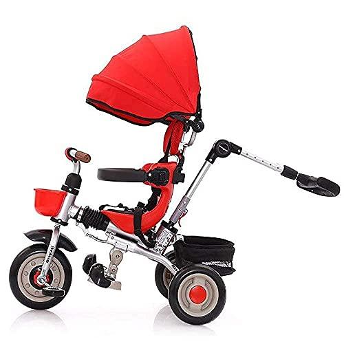OHHG Bicicleta niños, Triciclo, Triciclo bebé asa Padres, Cubierta la Lluvia, niños, niños, niños pequeños, Triciclo, Paseo en 3 Ruedas, toldo Bicicleta, Pedal Plegable, multifunción, máximo
