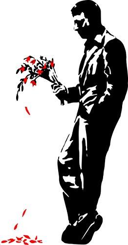 Broomsticker Banksy Graffiti 2013,Hell 's Kitchen,Wandtattoo, Wandaufkleber, Schwarz/Strawberry Red, X-Large: 70cm x 140cm / 28