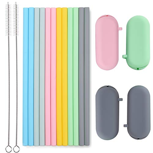 Sunseeke Silicone Straws Set - Odorless, 12 Standard Reusable Drinking Straws, 4 Carry Pouch, 2 Cleaning Brushes, Certificated Food Grade Platinum Silicone - 8 1/2' Long