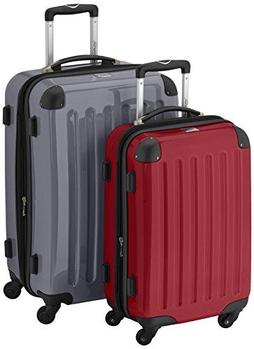 HAUPTSTADTKOFFER - Alex - 2er Koffer-Set Hartschale glänzend, 65 cm + 55 cm, 74 Liter + 42 Liter, Silber-Rot