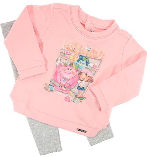 Mayoral Mädchen Baby Kindermode-Set Shirt & Glitzerleggings Monster im Schrank, Langarm, Rosa-grau, Gr. 86 (86)