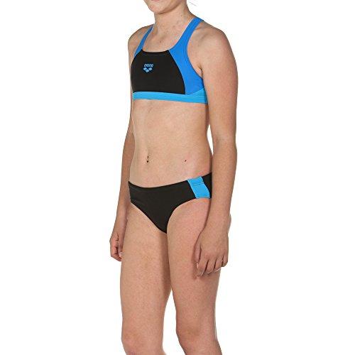 arena Mädchen Sport Bikini Ren (Schnelltrocknend, UV-Schutz UPF 50+, Chlor-/Salzwasserbeständig), Black-Pix Blue-Turquoise (508), 152