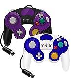 YCCTEAM - Juego de 2 mandos con cable para gamecube Switch GC Wii Consola Gamepad Joypad (Blanca y Morado)
