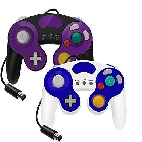 YCCTEAM Lote de 2 Manettes Filaires pour NGC Switch GC Wii Console Gamepad Joypad (Blanche & Violet)