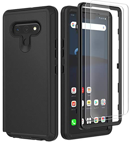 ComoUSA Compatible with LG Stylo 6 Case,with HD Screen Protector (2 Packs) Heavy Duty Hard Shockproof Armor Protector Case Cover for LG Stylo 6 (Black)