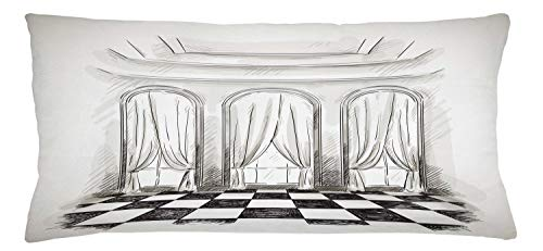 ABAKUHAUS Antique Throw Pillow Cushion Cover, Sketch Classic Parlor Ballroom Hall Castle Baroque Theatre Curtains Illustration, Decorative Square Accent Pillow Case, 36 X 16 Inches, Black White