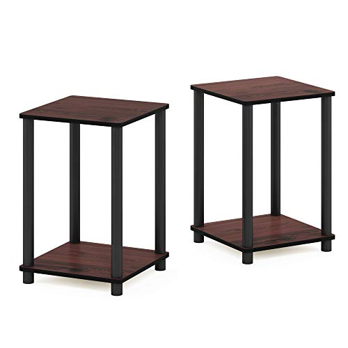 Furinno End Tables, Wood, Dark Cherry/Black, one size