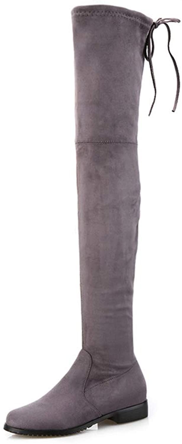 Square Low Heels Women shoes Casual Slip On Platform Over The Knee Boots Woman Elastic Round Toe shoes