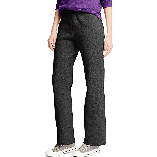 Hanes ComfortSoft Women's Petite Open Bottom Leg Sweatpant_Ebony_M