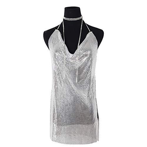 QXM Personalidad Super Flash Discoteca Cuerpo exagerado Cadena de Ropa Cofre bajo Vestido de Malla de Aluminio Sexy V Profundo,Silver