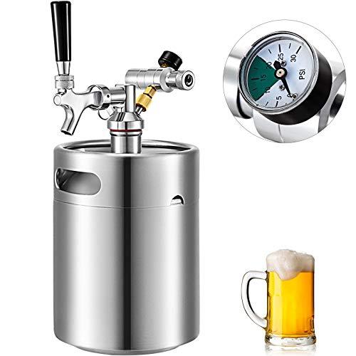 VEVOR Beer Mini Keg 169 Oz, Mini Keg Growler w/Tap Faucet, Pressurized Growler 304 Stainless Steel Pressurized Beer Growler with Co2 Pressure Regulator, Beer Dispenser Portable Carbonated Growler