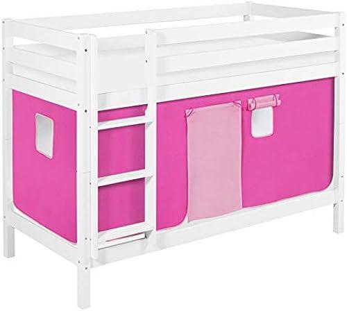 Lilokids Etagenbett JELLE TüV & GS geprüft 90 x 190 cm Rosa - Spielbett Weiß - mit Vorhang und Lattenroste