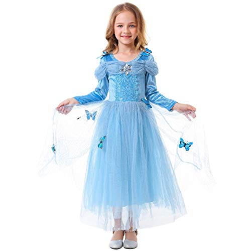 IWEMEK Disfraz de Carnaval Vestido de Cenicienta para Niñas Traje de Princesa Disfraces de Halloween Navidad Cumpleaños Pageant Comunión Cosplay Fiesta 7-8 Años