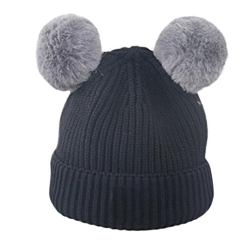 Cute Toddler Baby Girls Faux Fur Ball Knitted Hats Keep Warm Caps Inkach Winter Hats