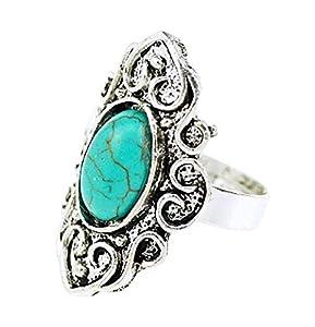 Lovelegis Tibetischer herrenring - Herren Ring - Ethnisch - Türkis Stein - Verstellbar - Oval - Silberne Farbe