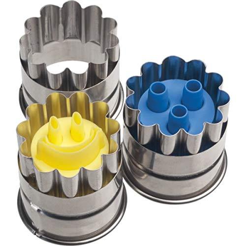 NEUSTANLO® Mini Linzer Ausstecher Ausstechform mit Auswerfer 3,6 cm Ø (3er Set)