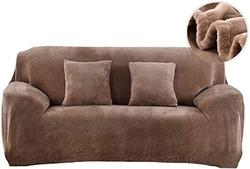 PENGMAI Fundas de sofá elásticas, 1/2/3/4 plazas, gruesas para sofá de terciopelo, Easy Fit, tejido elástico, protector para sofá, marrón, 3 Sitzer (195-230cm)