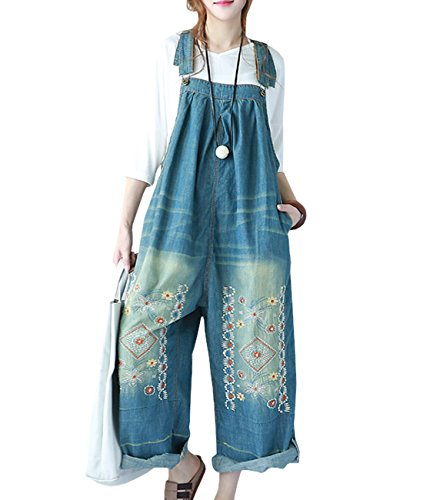 YESNO P91 Women Overalls Jumpsuits 100% Cotton Casual Embroidery Distressed Boyfriend Wide Leg,Blue,One size