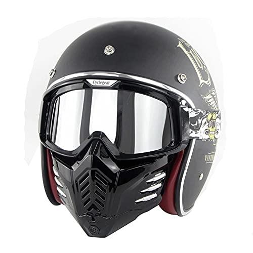 LHP Jet - Casco De Moto Abierto with Visor Mask Goggles Cascos Moto Half Helmet para Motocicleta Scooter Dot/ECE Homologado para Mujer Hombre Adultos (Color : B, Size : XXL/XX-Large 63-64CM)