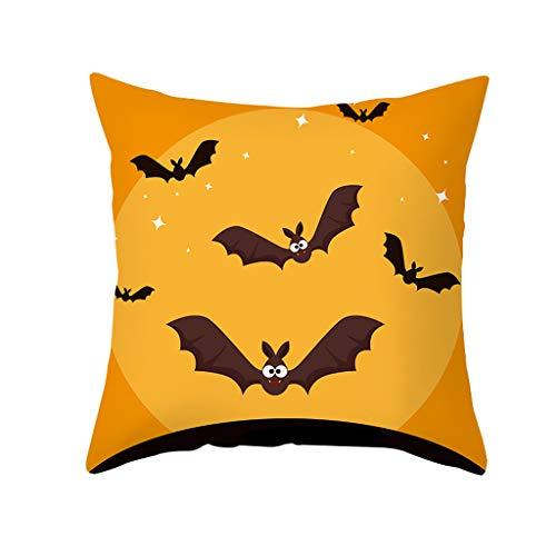 XHYR Federa da Cuscino Intagliato Zucca di Halloween con elmetto Militare Esercito Autunno Fodera per Cuscino in Poliestere Divano Letto Decor