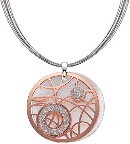 Perlkönig Kette Halskette | Damen Frauen | Funkelnder Mond in Rosegold Silber | Rund | Glitzer Steine | Karabiner | Nickelabgabefrei