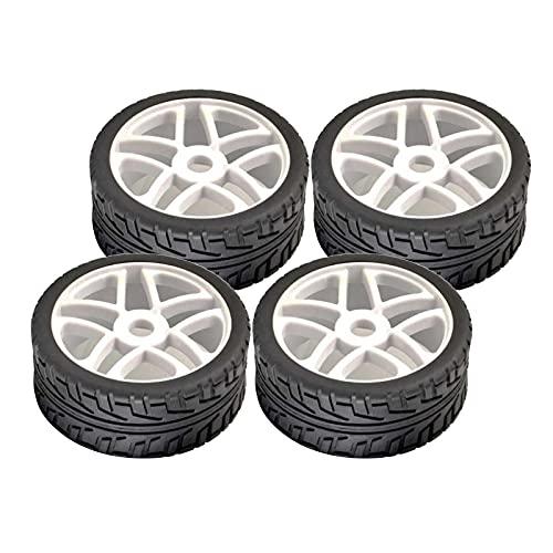 FITYLE Neumático de Goma de Coche RC, 4 Piezas 1/8 RC neumático, Robusto y Duradero Ancho Piedra triturada para HSP HoBao Tractor camión 1/8 RC Coche - Negro