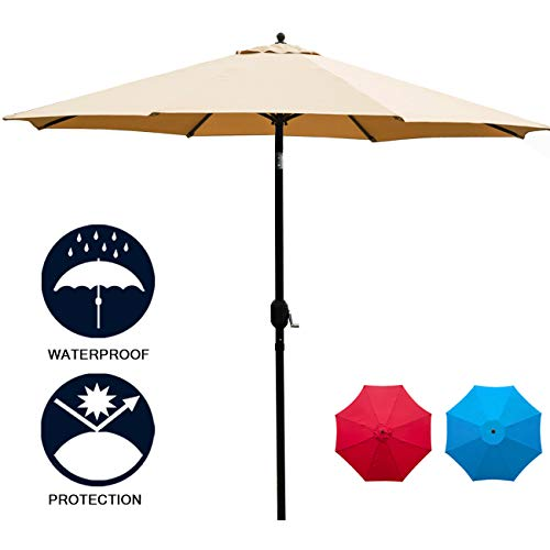 Sunnyglade 11Ft Patio Umbrella Garden Canopy Outdoor Table Market Umbrella with Push Button Tilt/Crank, 8 Ribs (Tan)