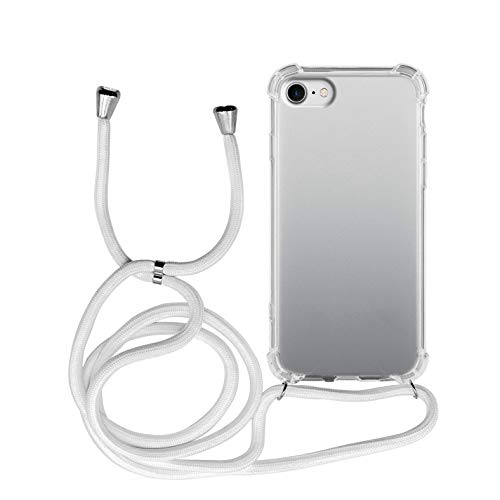 MyGadget Handykette für Apple iPhone 7/8 / SE 2020 TPU Hülle mit Handyband zum Umhängen - Handyhülle mit Band Halskette Kordel Schnur Case Schutzhülle - Weiß