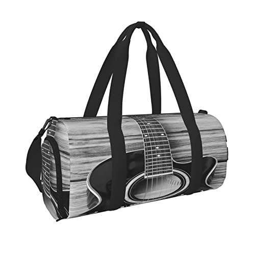 Borsa da palestra sportiva per chitarra vintage con tasca bagnata e scomparto per scarpe, borsone da viaggio per uomini e donne, Nero , Taglia unica,
