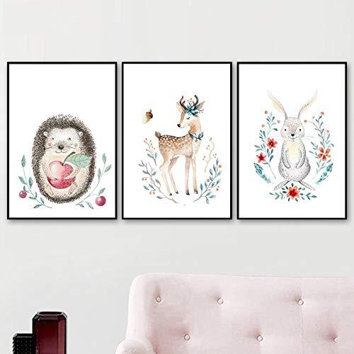 kaxiou Kaninchen Igel Bär Poster und Drucke Wandkunst Leinwand Malerei Nordic Poster Dekoration Bilder für Kinderzimmer Dekor-40X60Cmx3 Pcs Kein Rahmen