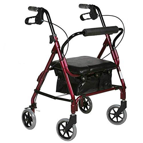 Z-SEAT Elderly Walker, klappbarer Rollator mit Rollrahmen Ultraleichter Rollator aus rotem Aluminium mit gepolstertem Sitz und Untersitztasche