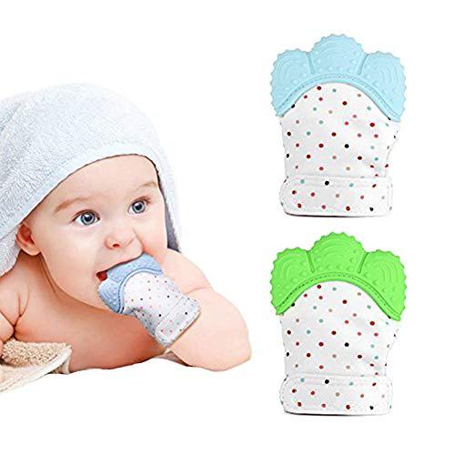 Baby Zahnen Handschuh 2 Paar Baby Beißringe Fäustlinge Neugeborenen Silikon Schnuller 2 Stück Handschuh Beissringe Spielzeug Baby zum Zahnen für Alter 3-12 Monate (Rosa+Orange)