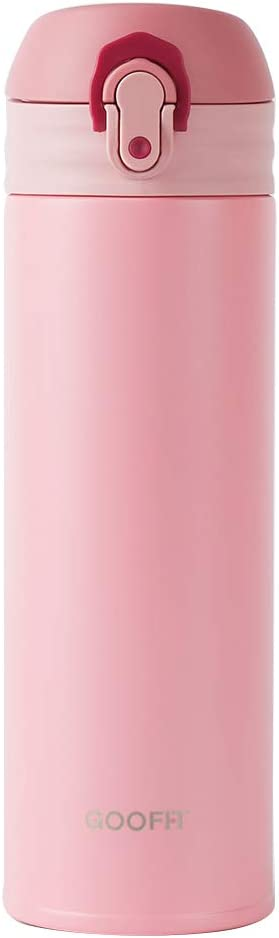 GOOFIT Water Bottle Double Wall Vacuum Insulated Thermos Beverage Bottle Stainless Steel Travel Mug 10 Ounce Pink