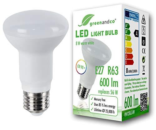 Preisvergleich Produktbild greenandco® CRI 90+ LED Lampe ersetzt 56 Watt R63 E27 matt,  8W 600 Lumen 3000K warmweiß 160° 230V AC,  flimmerfrei,  nicht dimmbar,  2 Jahre Garantie