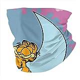 Multifunctional Headwear Garfield and Moon Face Mouth Cover, Head Wrap, Neck Gaiter, Headband Bandana, Magic Scarf, Balaclava for Outdoor Black