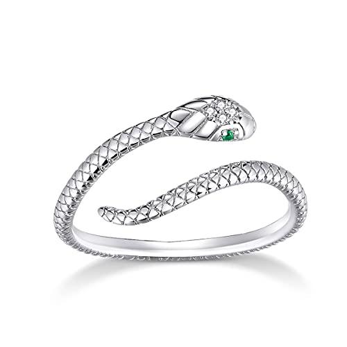 GDDX Anillo de dedo de serpiente de plata esterlina Anillo de dedo ajustable de animales Regalos de joyería para mujeres adolescentes