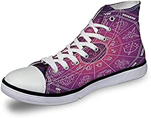 High Top Classic Casual Canvas Sneakers Lace ups Casual Walking Shoes,Colorful Circle Regarding Position of Celestial Bodies Place of Birth Design - Womens