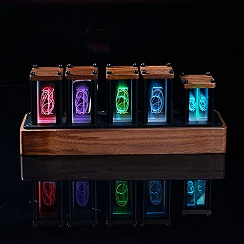 Honeyhouse, orologio Nixie LED, fai da te, creativo, a colori variabili, con presa USB, per innamorati, fidanzati, Natale, regalo di compleanno (noce)